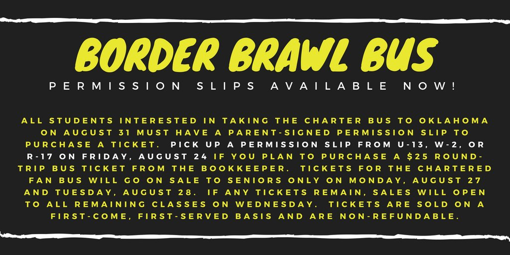 Want to ride the chartered fan bus to Oklahoma for the Border Brawl? Read below!