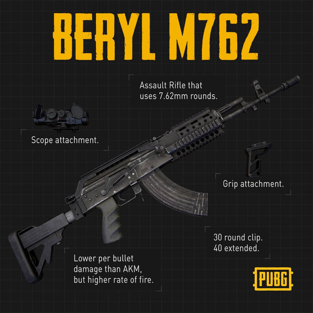 Pubg On Twitter The Beryl M762 Is A New Ar Which Spawns On All