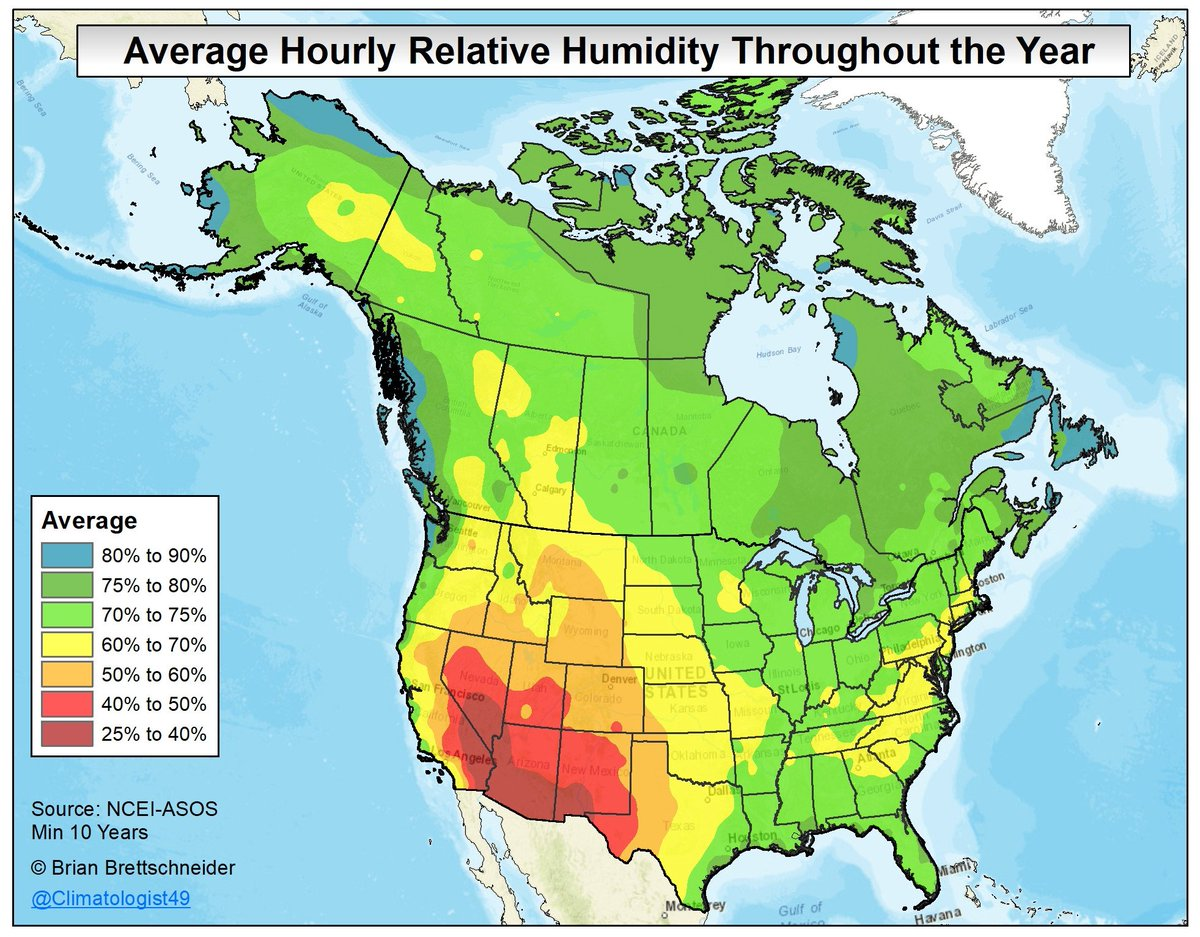 Brian Brettschneider On Twitter Average Annual Relative Humidity - Us-humidity-map