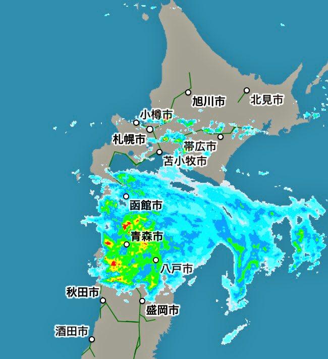 雨雲 酒田 レーダー 市