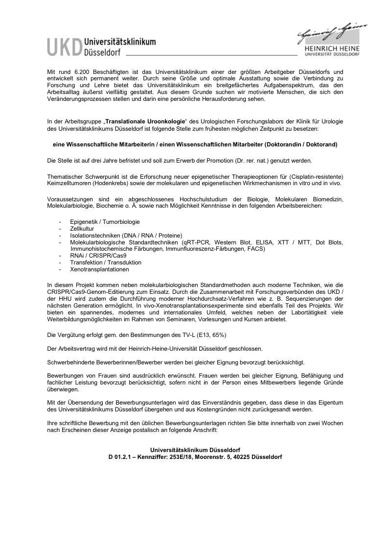 hhu interessante offene stelle fr wissenschaftliche mitarbeiterin bei ukd arbeitsgruppe translationaleuroonkologie befristet auf drei jahre - Uni Dusseldorf Bewerbung