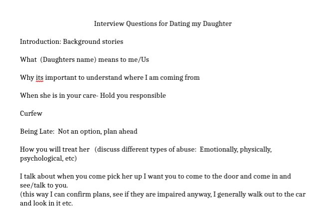 interview questions for dating my daughter
