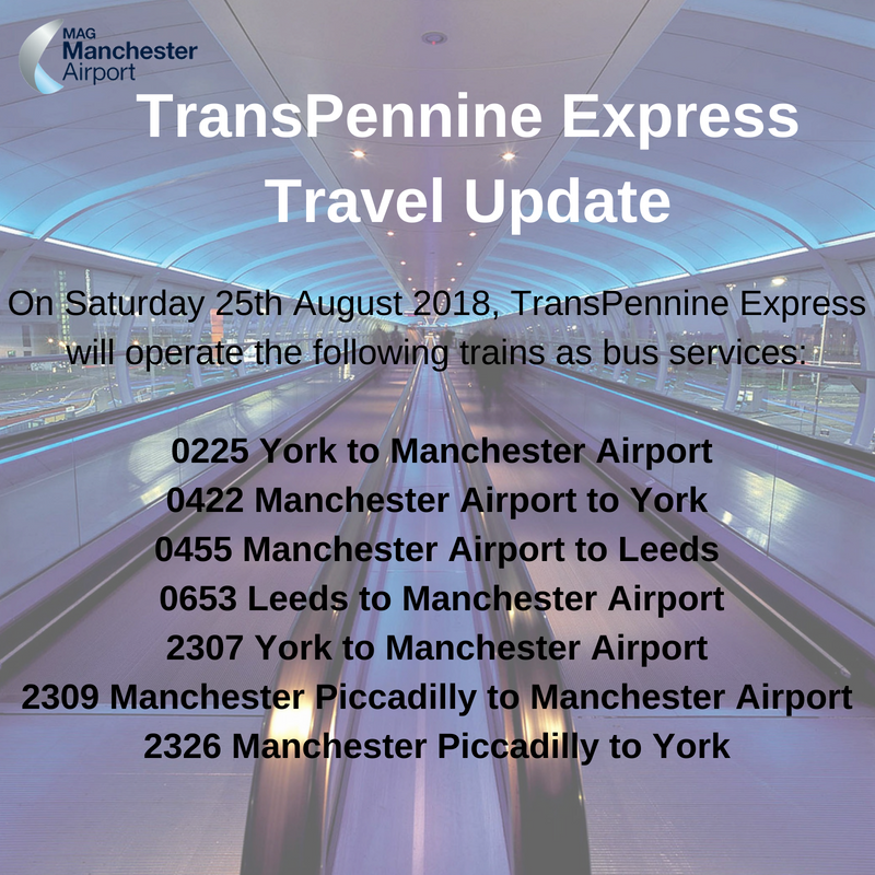 """Manchester Airport a Twitter: """"If you're travelling to or from @manairport  by train tomorrow, please be aware that the below @TPExpressTrains services  are operating as bus services. Please visit https://t.co/rDQDlYGhJy for more"""