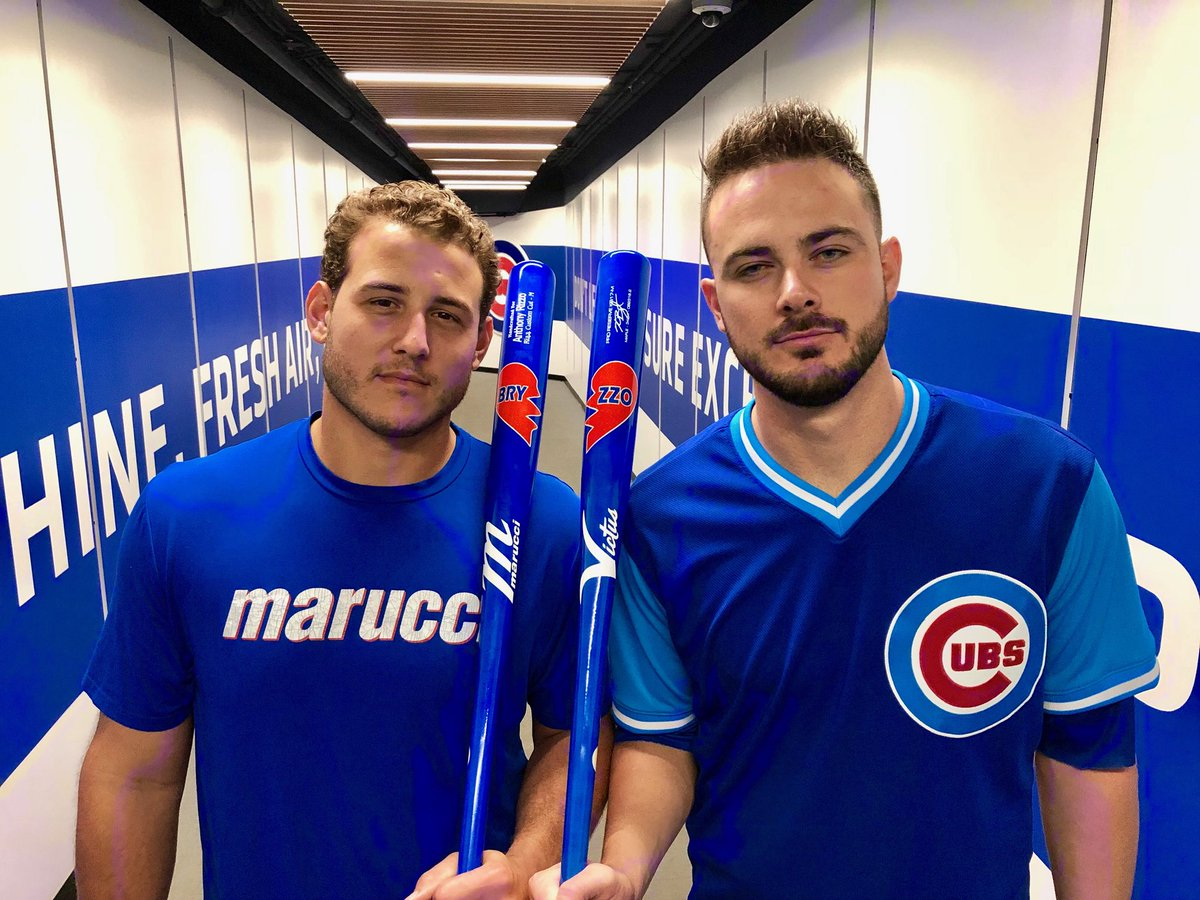 Kris Bryant and Anthony Rizzo's Players' Weekends bats