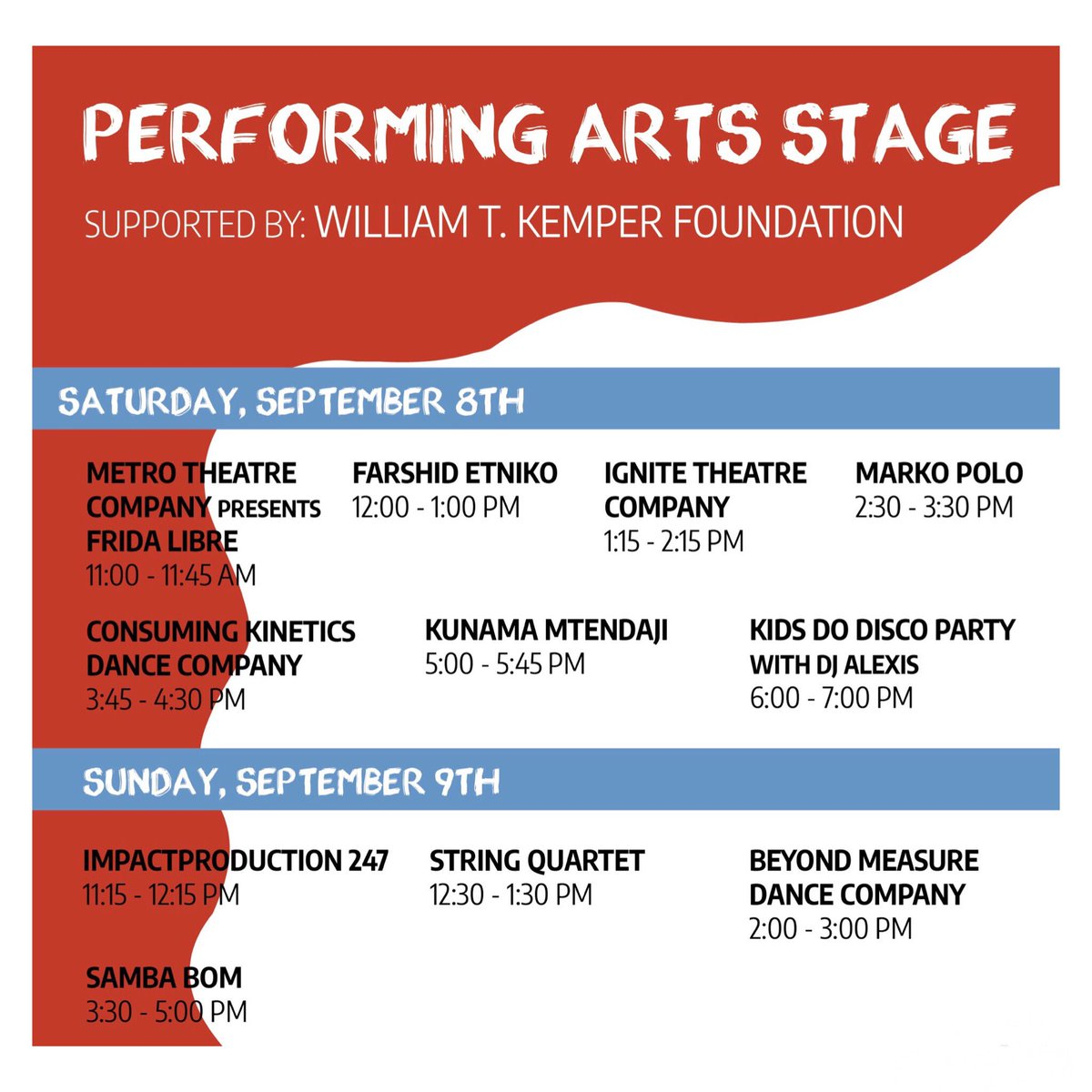 The Performing Arts Stage lineup is official! We have lots of fun interactive & musical performances for you this year. 🎻🥁 #performingarts #stlartfair