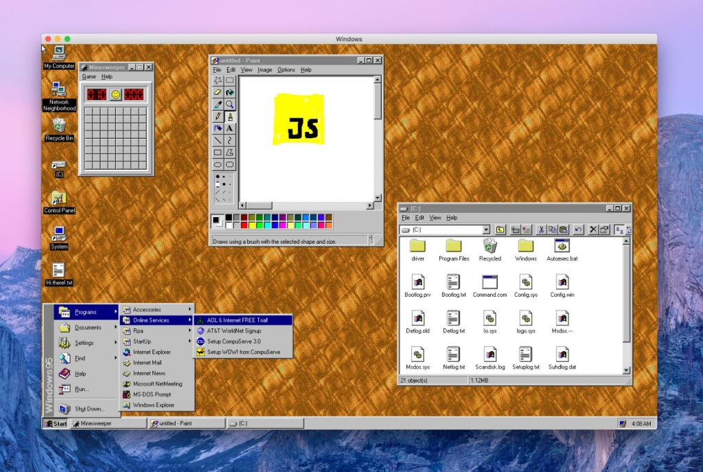 slashgear on twitter windows 95 released as an app download out