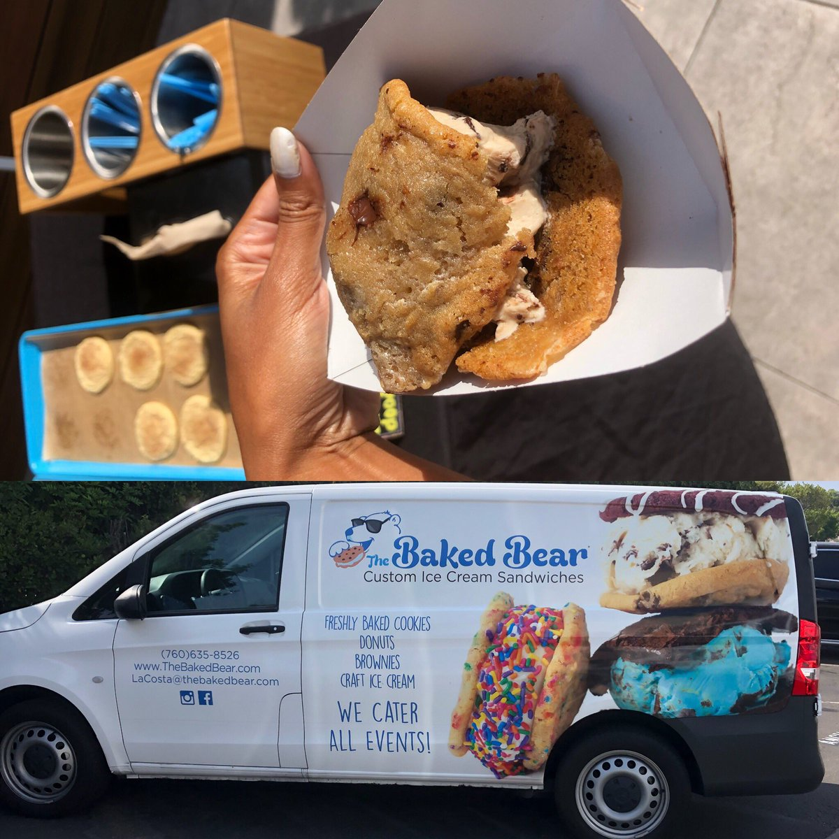 A yummy break @CBS8 So great to have #BakedBear #IceCream set up a full ice cream bar with cookies and toppings!🍨🍪 https://t.co/yh89wgSrVr