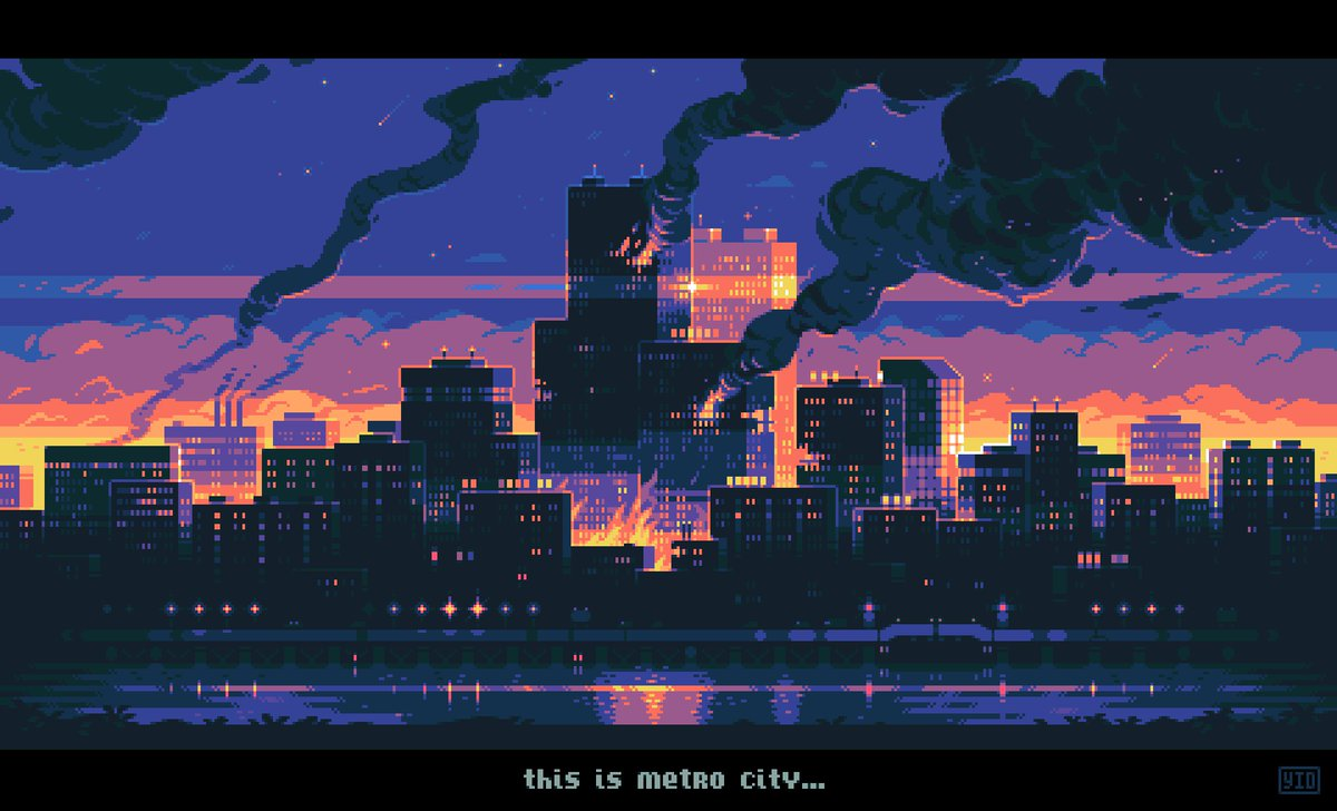 Are you tired of cityscapes? I'm not #pixel #pixelart #digitalart #city #town #sunset #landscape #art