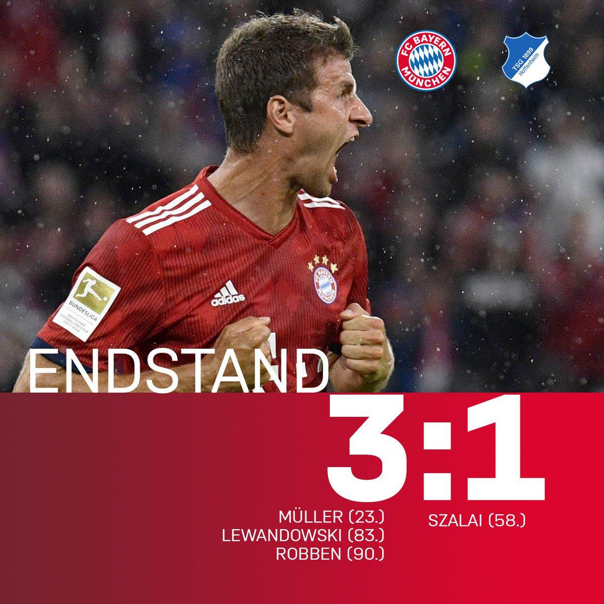 Aus! Die ersten 3⃣ Punkte bleiben in München! 💪😉  #FCBTSG #FCBayern #MiaSanMia #Bundesliga