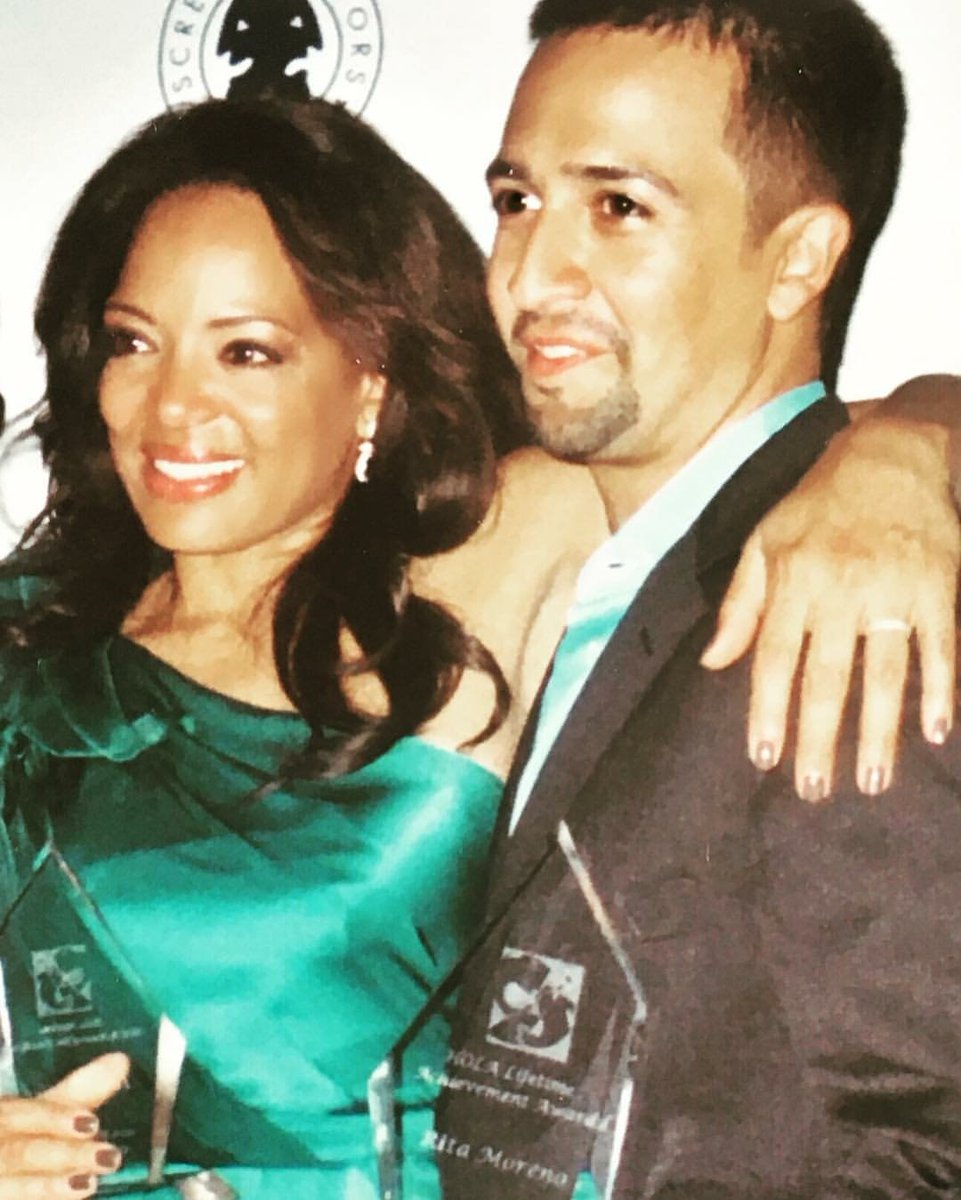 #FBF to me and @Lin_Manuel receiving the Rita Moreno Award from Hola. Was so honored to receive it and be in such amazing company. #gratitude #awards #Ritamoreno #love ✨ https://t.co/2XhM719L24