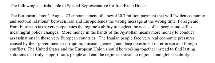 On-the-Record from Brian Hook, Special Representative for Iran