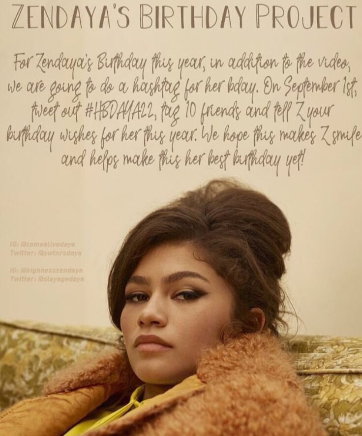 HAPPY BIRTHDAY TO A QUEEN I HOPE YOUR DAY IS FILLED WITH SO MUCH LOVE AND JOY LOVE YOU ZENDAYA