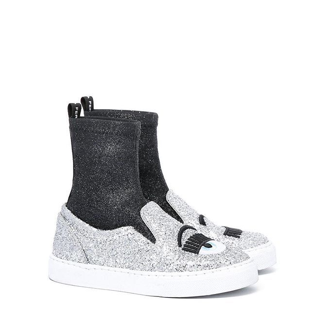 """f84b1d7ac Chiara Ferragni Flirting Silver glitter """"flirting"""" and black knitwear sock  slip-ons with wire embroideries. light blue leather lining and insole."""