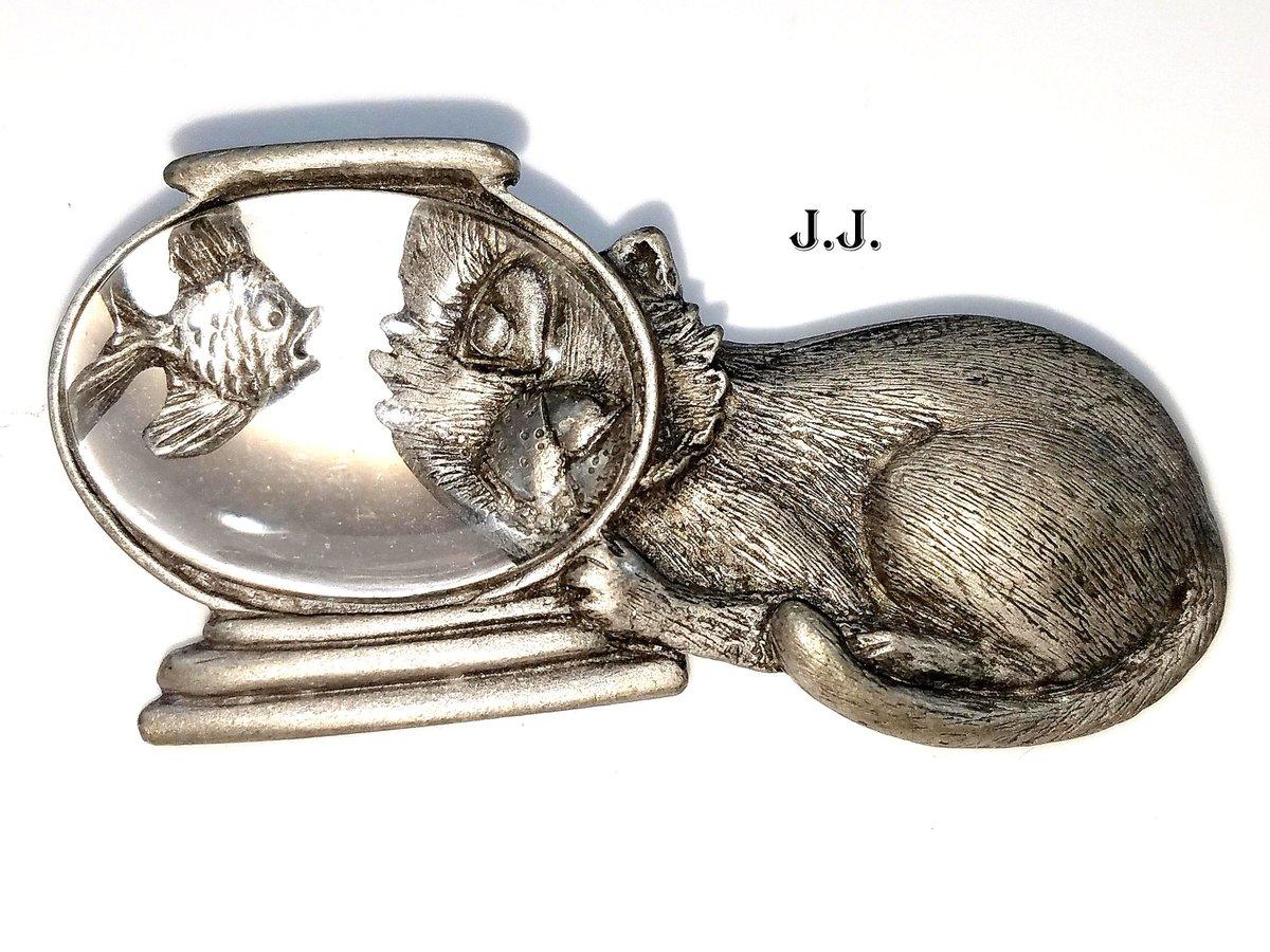 "/""JJ/"" Jonette Jewelry Bronze Pewter /'Grandma/' Floral Photo Pin"