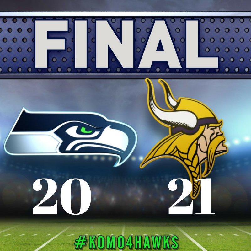 FINAL: Seahawks: 20, Vikings: 21  #SEAvsMIN