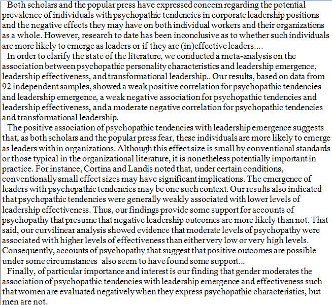 psychopathy and leadership in the corporate Corporate elibrary discover our employee learning solutions see demo home psychopathic leadership dorothy has actively been involved in the development of a suite of organisational climate surveys called image pro (marlow and spry 2016), which provides an organisation with a.
