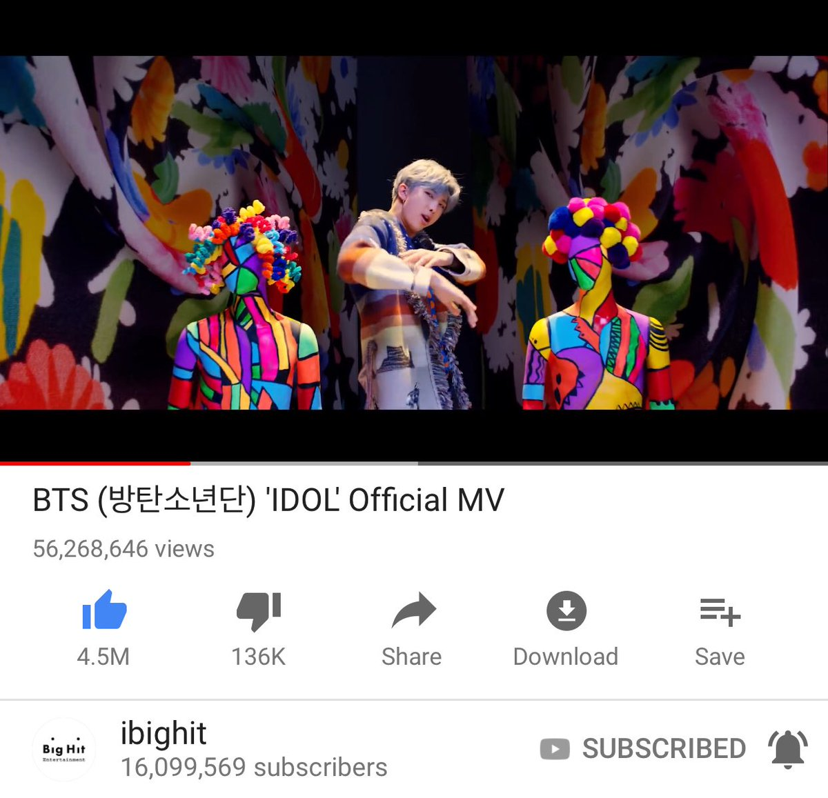 Worldwidebts On Twitter Real Time Bts Idol Official Mv Youtube View Please Await Confirmation For 24h Count Lets Keep Streaming Answernow Http Pbuzegyxa6e Pic Wjdsphkti2