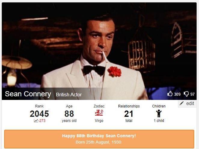 Happy BirthDay Sean  Sean Connery 88th Birthday