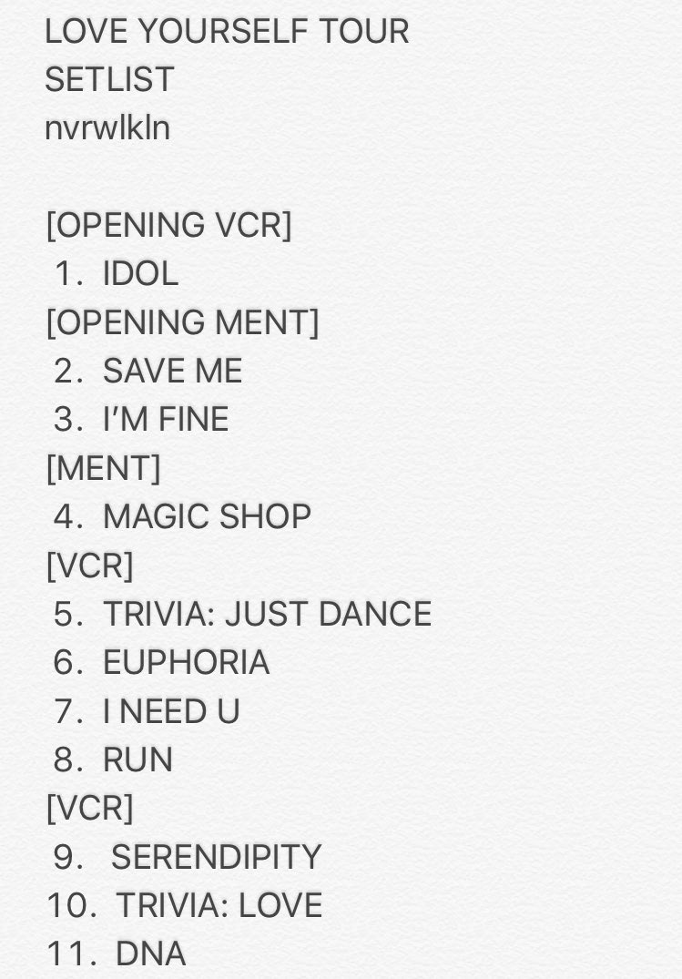 길 On Twitter Love Yourself Tour Setlist Seoul D1 25 08 2018 Btsloveyourselftour Bts Bts Twt