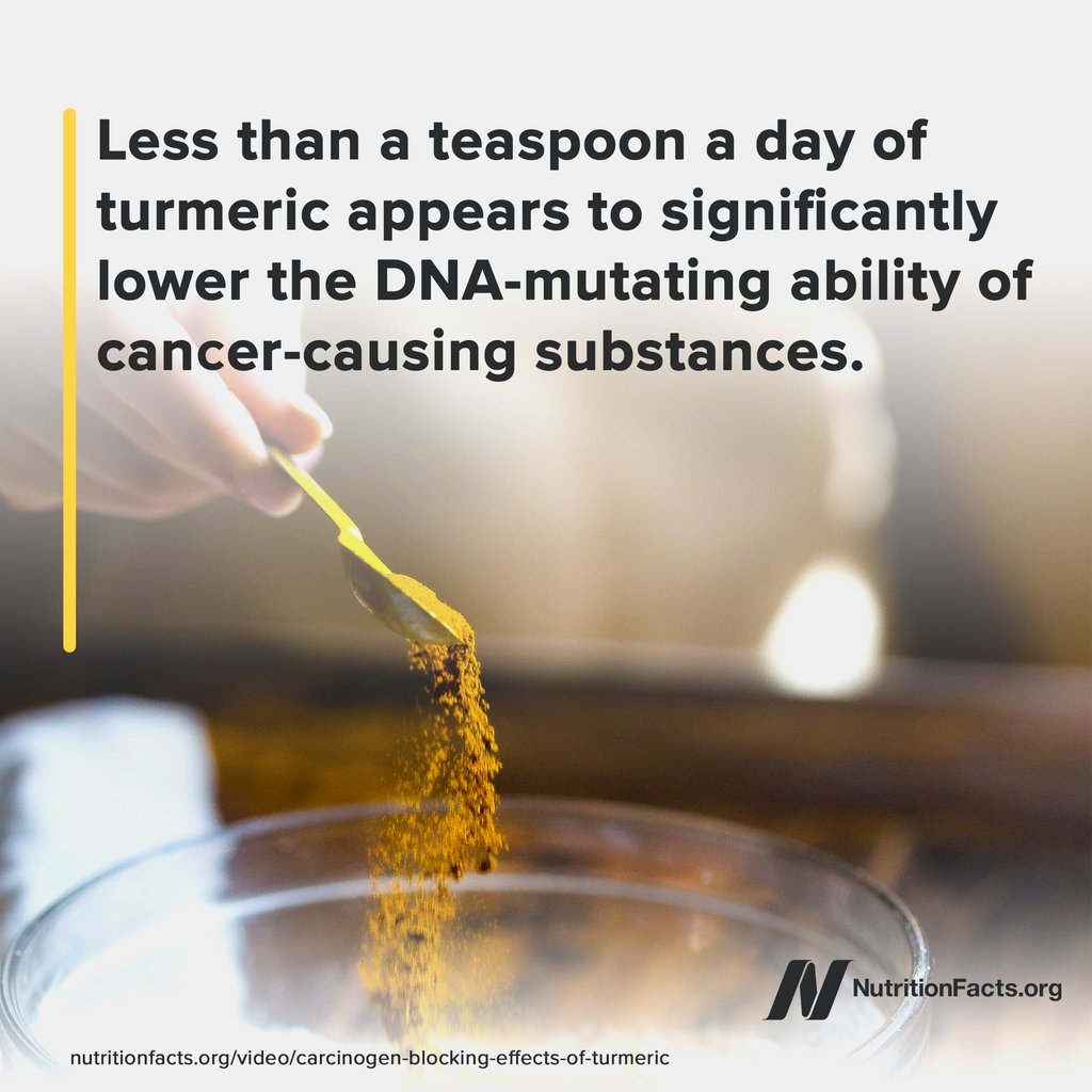 Curcumin appears to play a role helping to block every stage of cancer transformation, proliferation, and invasion. It may even help before carcinogens even get to our cells. Learn more in the video 'Carcinogen-Blocking Effects of Turmeric': https://t.co/vZYLZDw2Pk