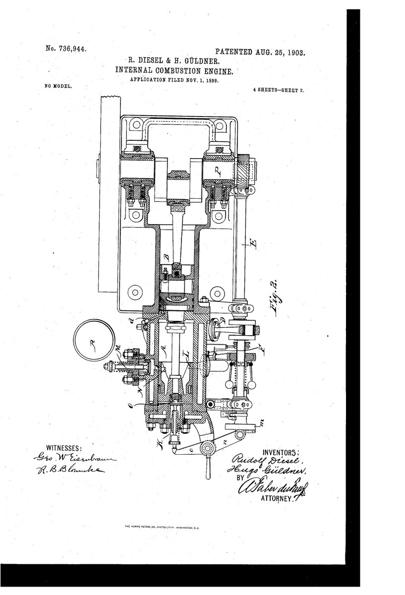 On this date in #innovation history: Rudolf Diesel receives a #patent in  1903 for his follow-on innovative developments of his engine #invention  (now known ...