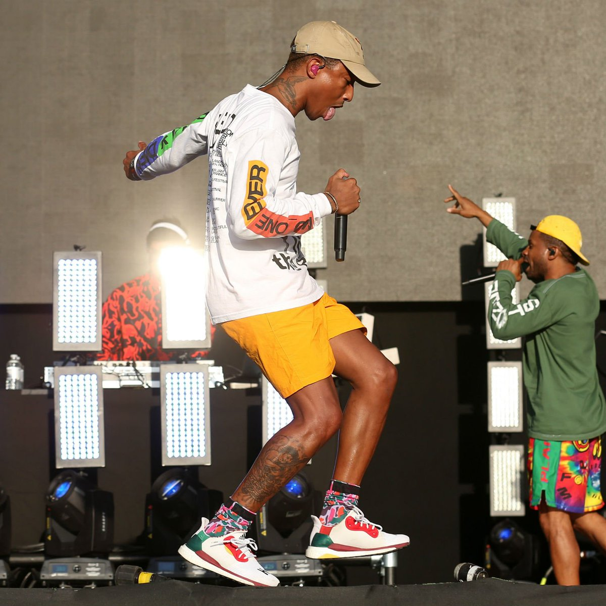 cac5cb4a32777 pharrell performing at reading festival in his adidas solar hu glide  sneaker. 📸   moniej44