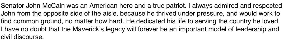 My statement on the passing of Senator John McCain.