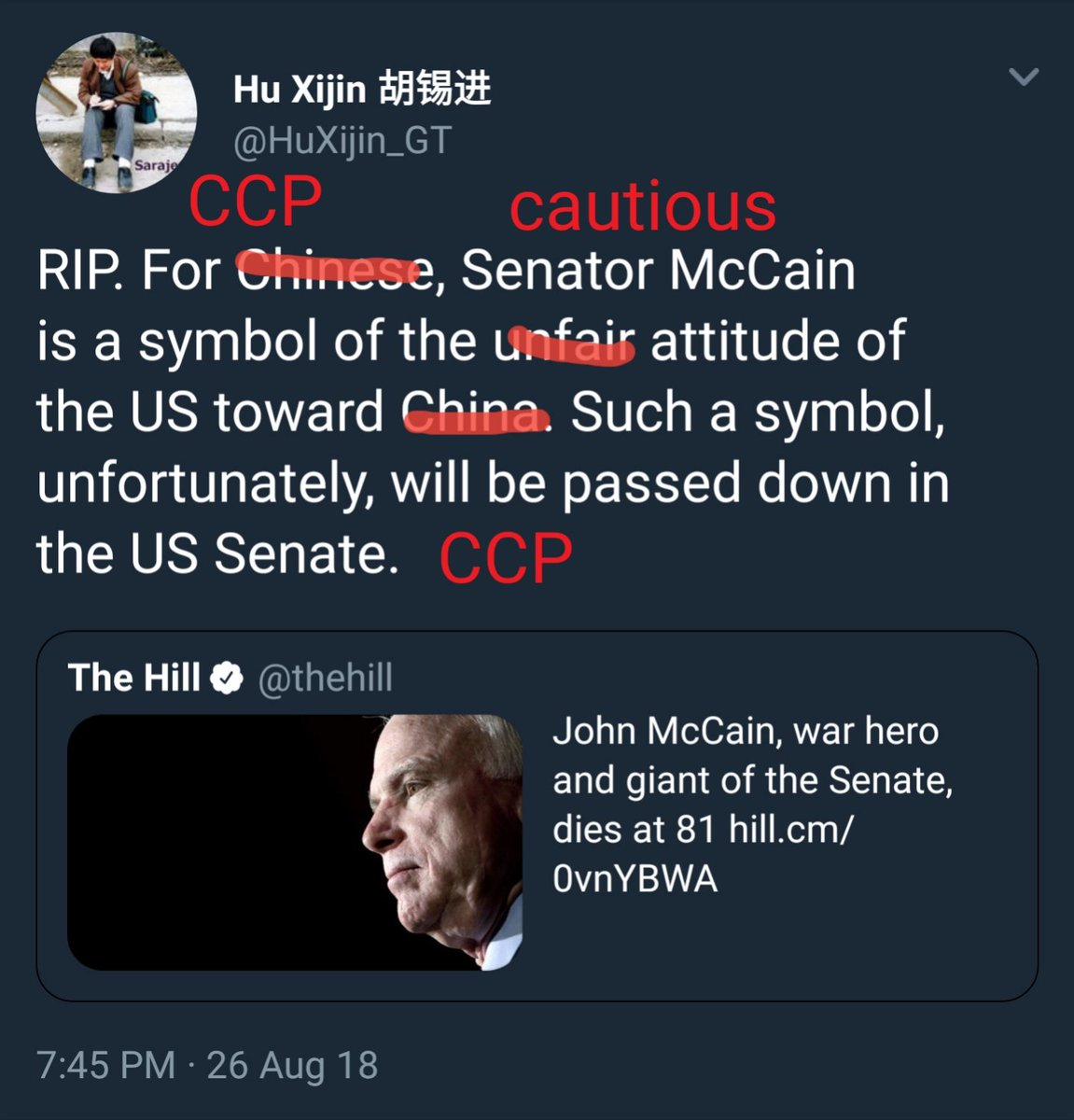 Hu Xijin On Twitter Rip For Chinese Senator Mccain Is A