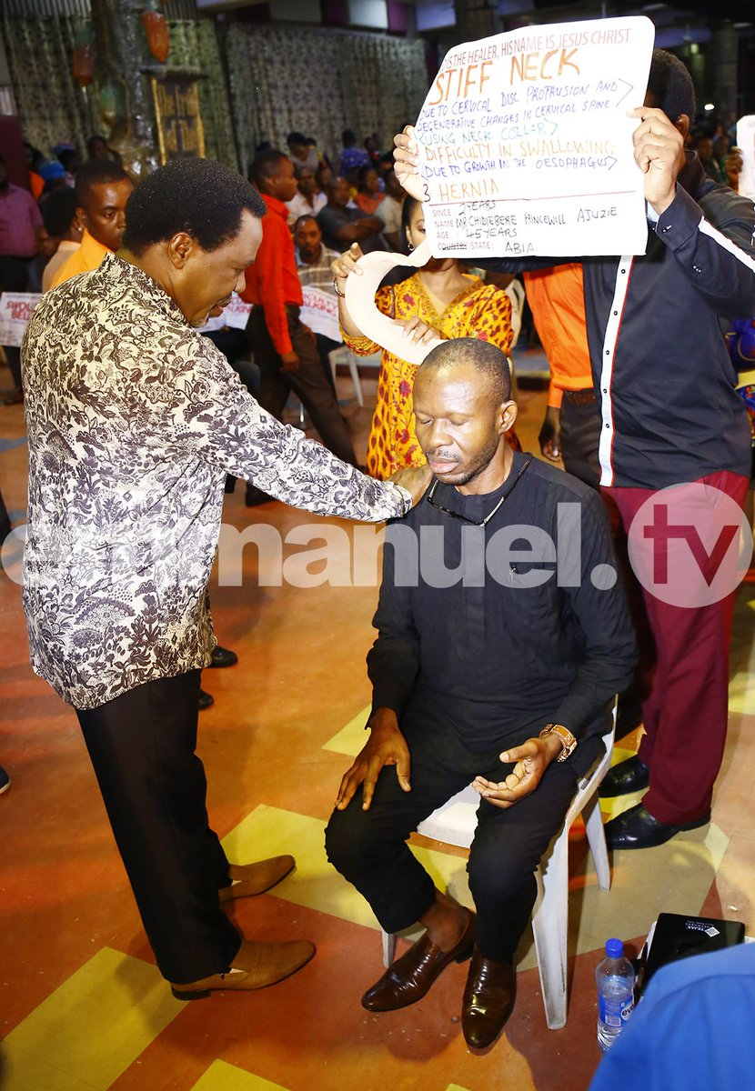 Mr. Chidiebere Ajuzie, 45, arrived at The SCOAN in a neck collar due to cervical disc protrusion and degenerative changes in the cervical spine. The man of God Prophet T.B. Joshua ministered healing prayer and instantly Mr. Ajuzie walked in the light of his freedom. https://t.co/VV8GRlIA7o