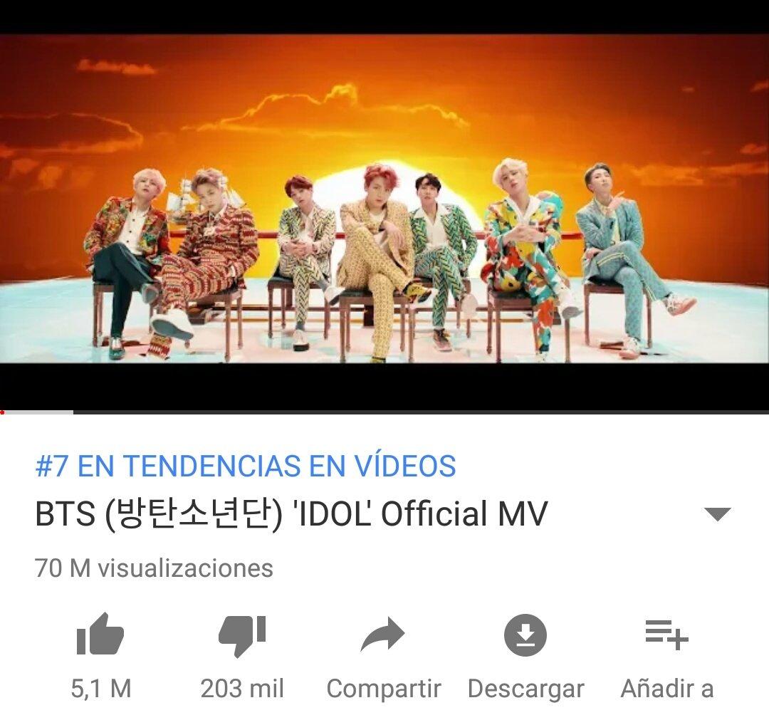 Kpop Spain INFO El Videoclip Idol De BTS Ha Superado Las 70 Millones Visitas Tco DuG8FPGMVl