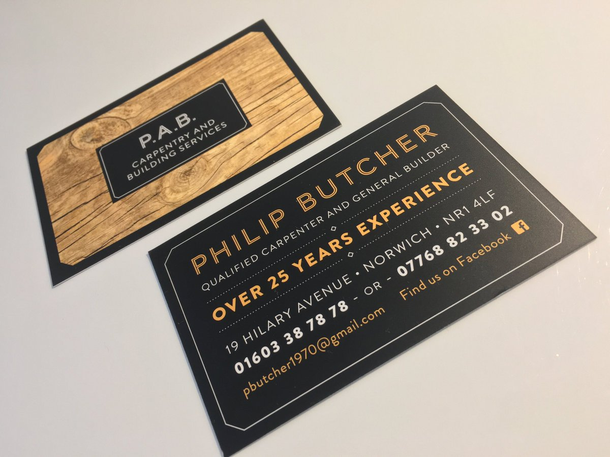 Norwich designer norwichdesigner twitter cards to match the banner we created for pab carpentry and building services httpnorwichdesignerbusiness cards businesscards reheart Images