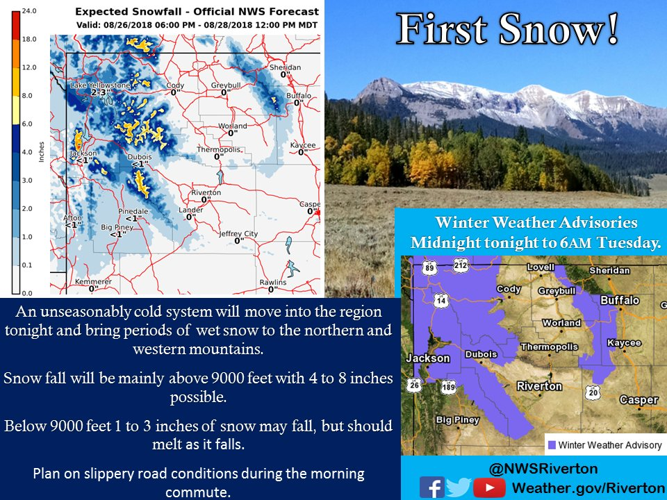 First Snow!  Say it ain't so!  We're afraid so.   Sorry all, the first snow is indeed upon us.  A cold front will move in this evening bringing much cooler air, rain, & snow in the higher elevations. Winter Weather Advisories are out from midnight tonight to 6 AM Tuesday. #wywx