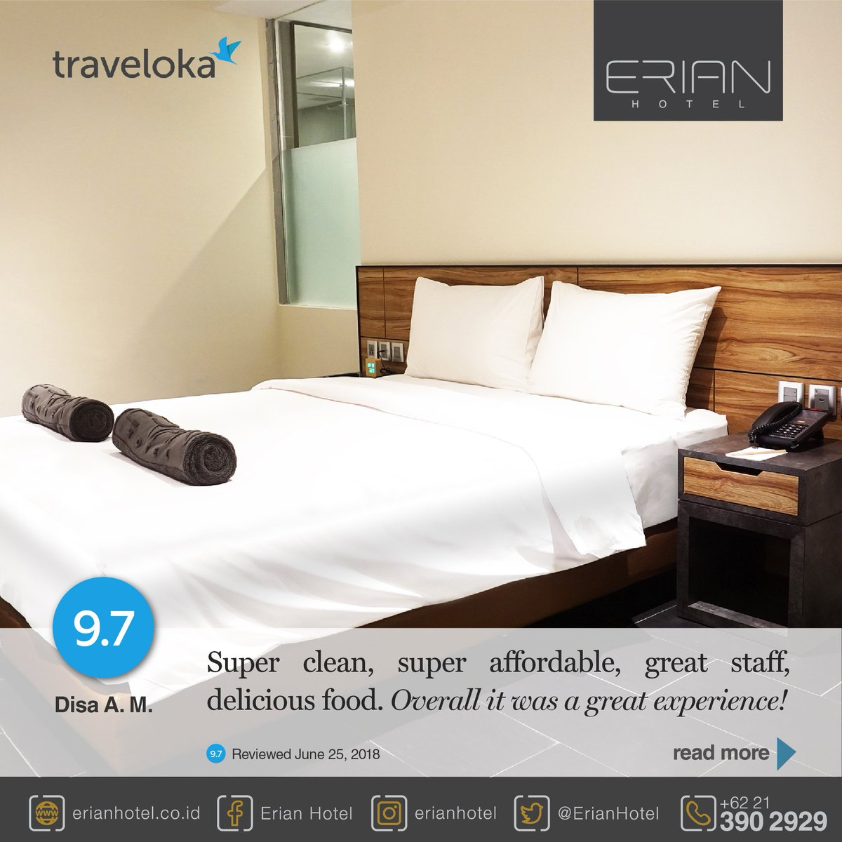 Erian Hotel On Twitter Our Guest Review Traveloka Disa A M Jun 25 2018 Overall It Was A Great Experience Read More Https T Co Fcyvyht6ou Erianhotel Hotel Businesshotel Travel Reviewhotel Traveloka Agoda Tripadvisor Indonesia
