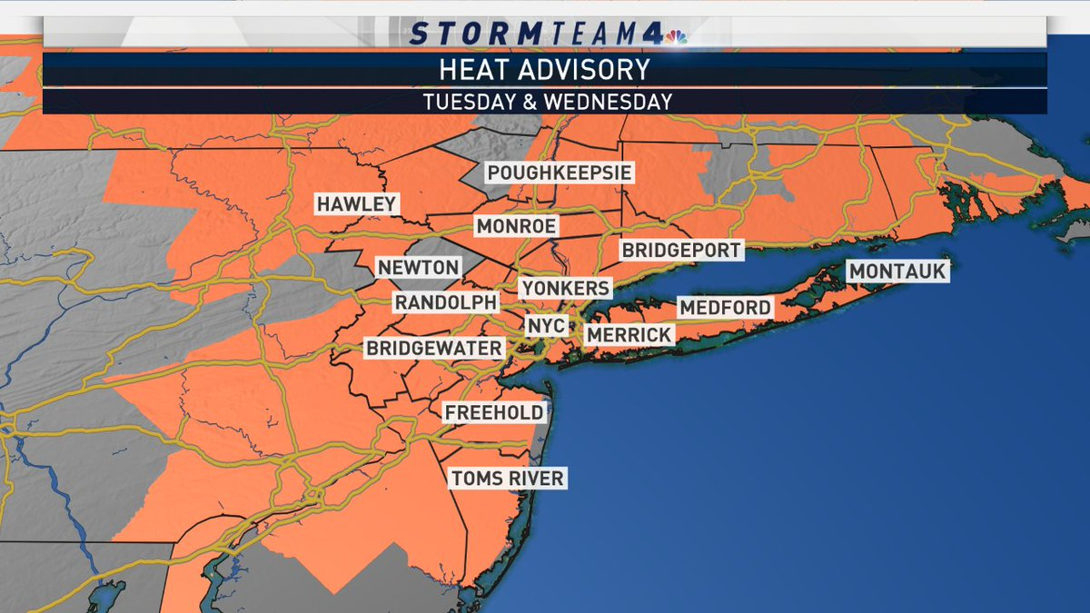 A Heat Advisory has been issued for the following areas shaded in orange tomorrow & Wednesday... Highs will peak in the 90s, but it is going to feel more like it is in the 100s. Stay tuned for the latest updates.  #NBC4NY