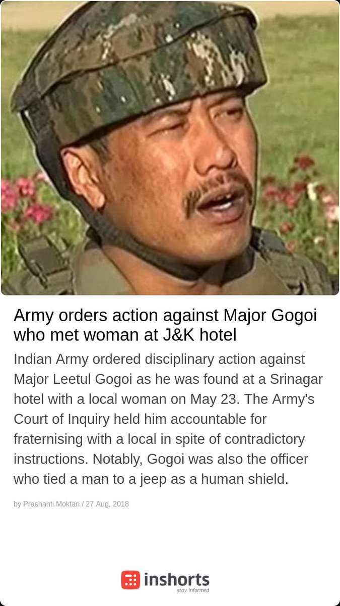 Inshorts On Twitter Army Orders Action Against Major Gogoi Who Met