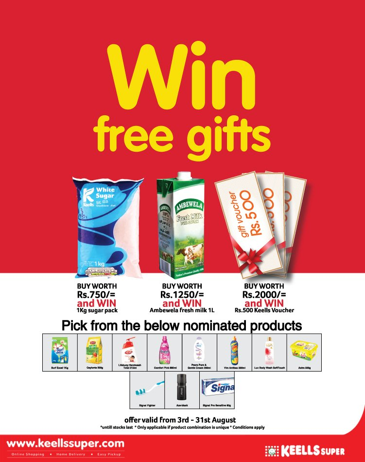 Win free essentials and gift vouchers when you shop at Keells Super! Buy from selected Unilever products and win your free gifts. *conditions apply https://t.co/dzX1ea4VSt