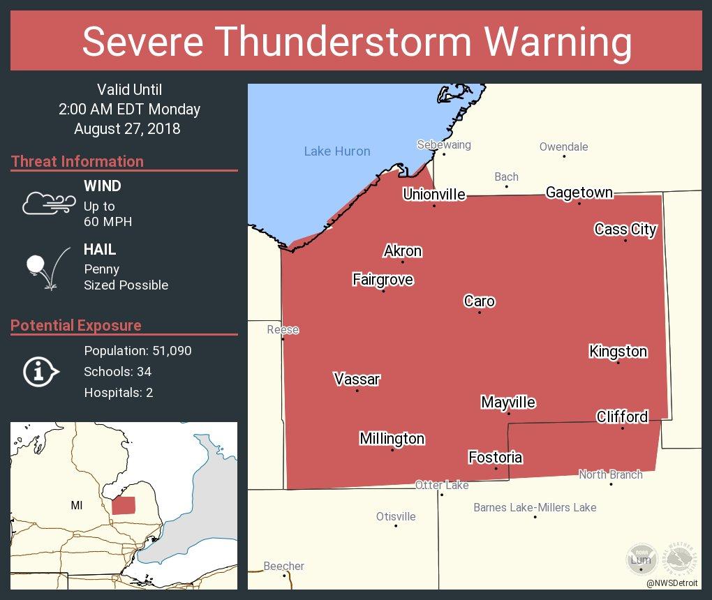 Nws Detroit On Twitter Severe Thunderstorm Warning Including Caro