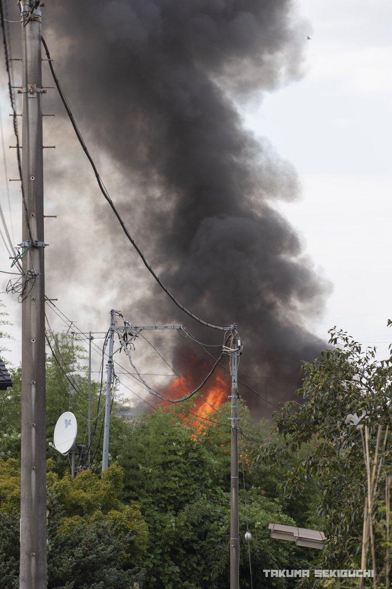 所沢市荒幡で住宅火災の現場の画像