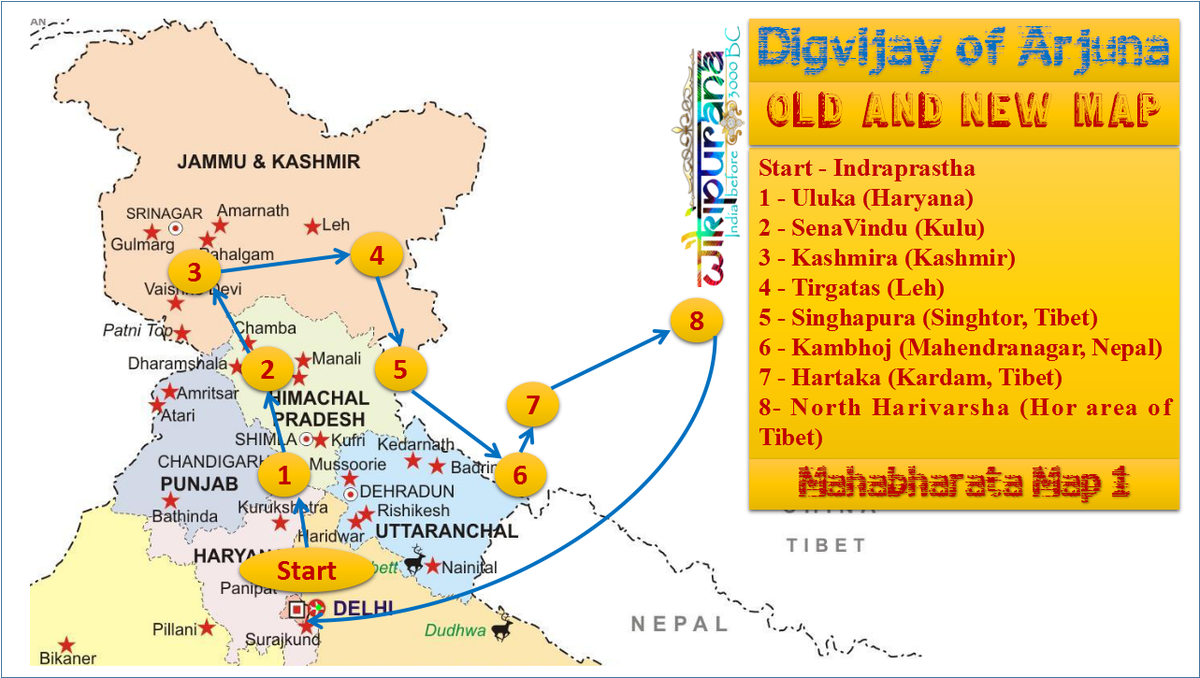 Ancient India Map - Arjuna Digvijay