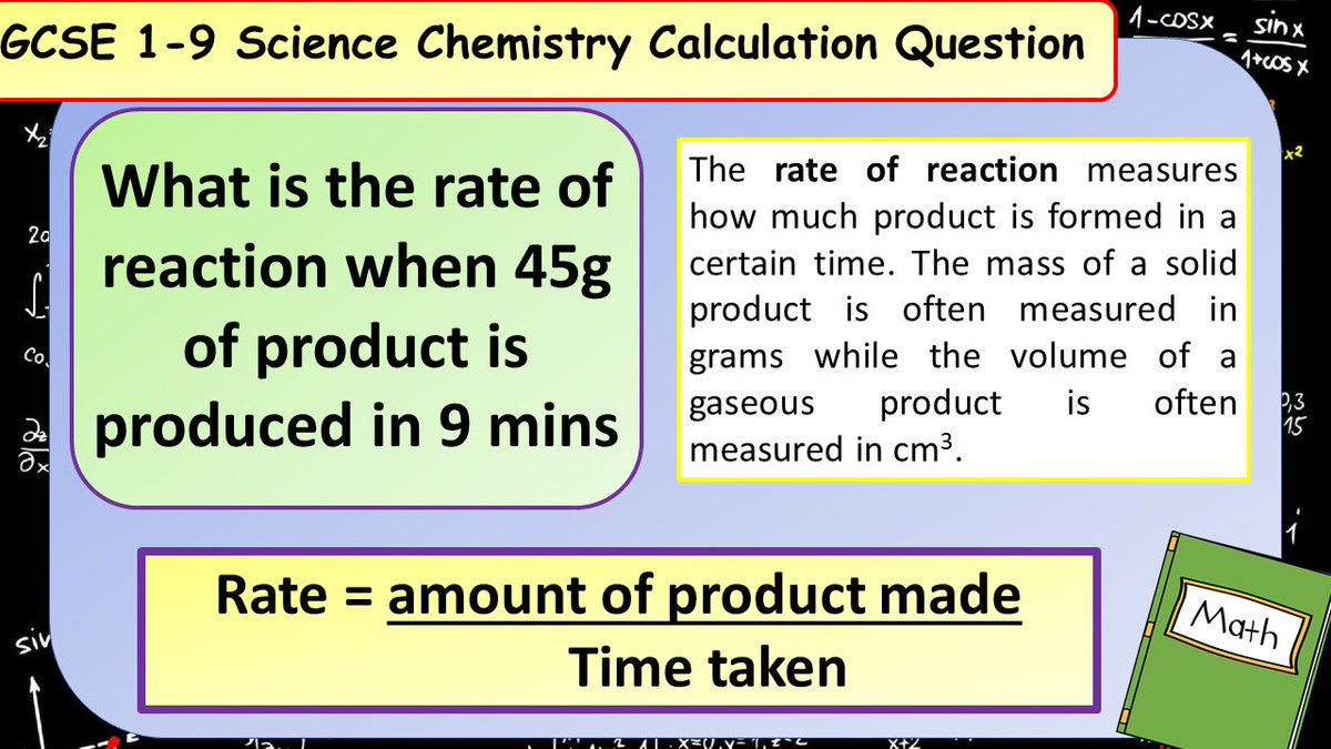 Dont forget about the extra maths content in the new GCSE Science spec! Have a go at this chemistry calculation practice question. #ukedchat #asechat #aqachemistry #aqascience #sciencerevision #revision #ocrchemistry #edexcelchemistry