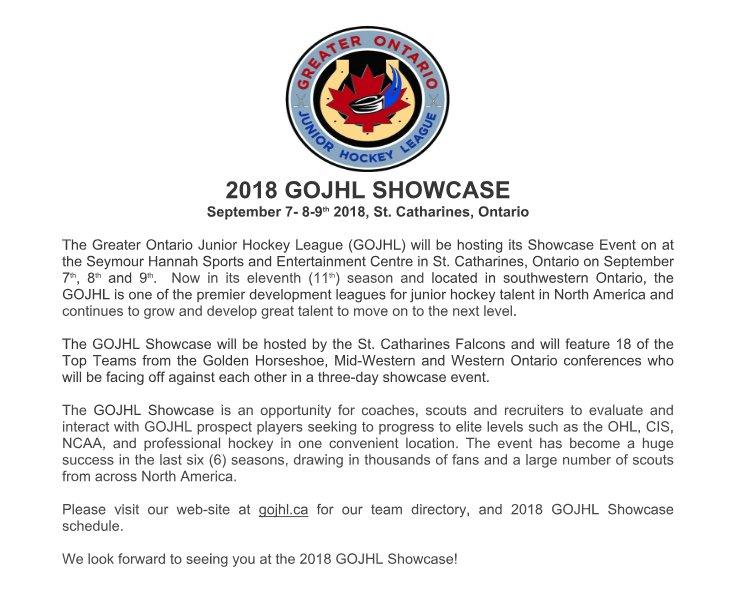 Gojhl Hockey On Twitter Gojhl Showcase Schedule Https T Co
