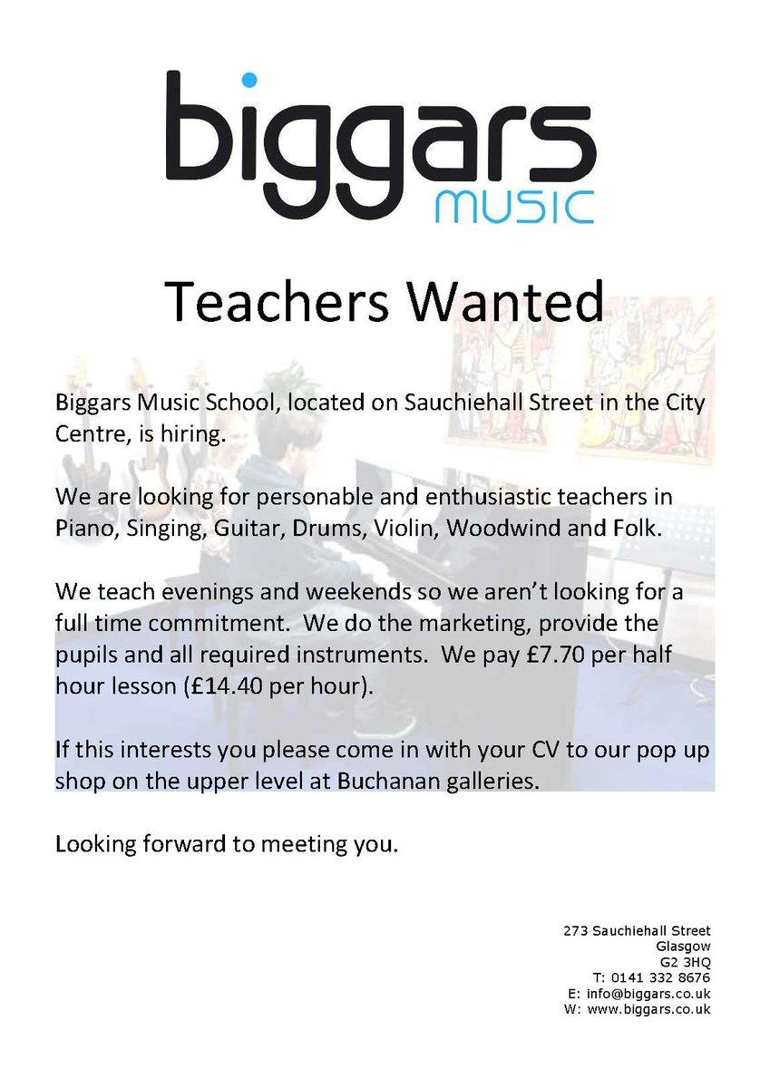 Rcs Su On Twitter Music Teachers Wanted For At Biggarsmusic Piano