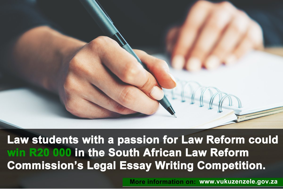 Essay In English Literature  Reform Commissions Legal Essay Writing Competition Visit  Httpswwwvukuzenzelegovzaessaycompetitionsearchesinnovativeideas Law  For More  An Essay On Science also History Of English Essay South African Government On Twitter Law Students With A Passion  Healthy Eating Essays