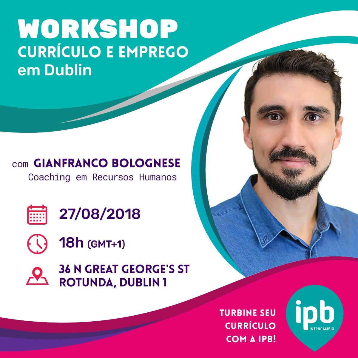 Quer trabalhar na Europa, mas precisa entender como funciona o mercado de trabalho? A IPB Intercâmbio realiza hoje, em Dublin, workshop sobre Currículo e Emprego em evento gratuito. Clique no link abaixo para se inscrever e compareça! https://t.co/IFpp3vJfYV https://t.co/YvUWp1ySfy
