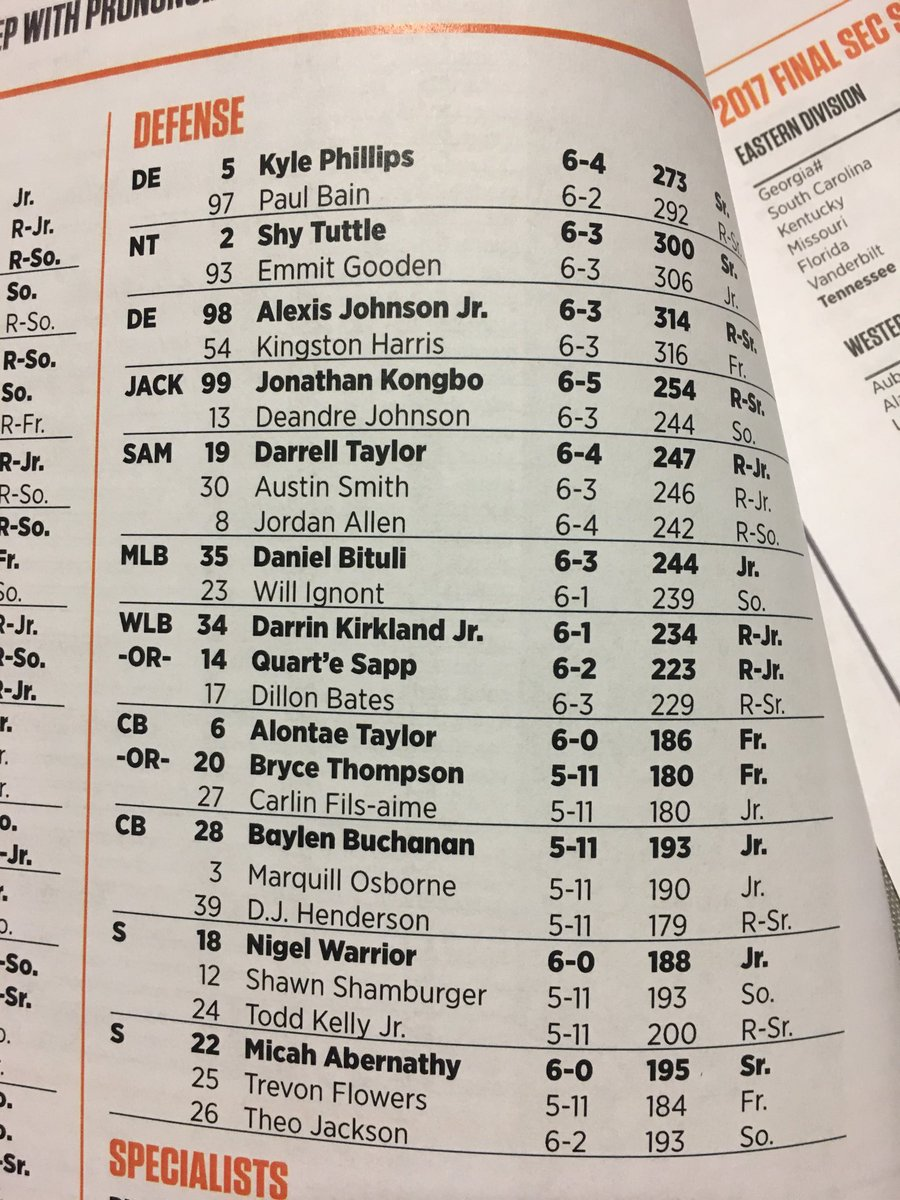 Vols Week One Defensive Depth Chart Interesting To See Bryce Thompson Listed As A Co Starter With Alontae Taylor At Cornerback