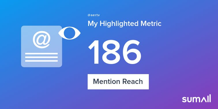 My week on Twitter 🎉: 1 Mention, 186 Mention Reach. See yours with https://t.co/OoxjxRcUjn https://t.co/U1sryhq1GW