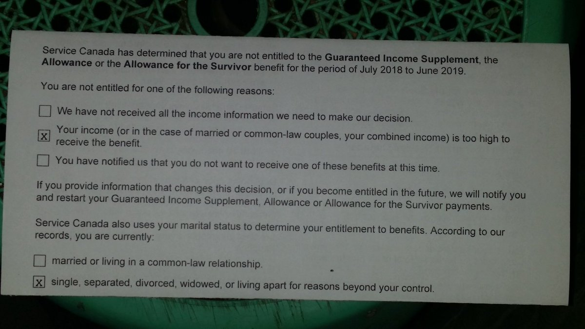Guaranteed Income Supplement 2019