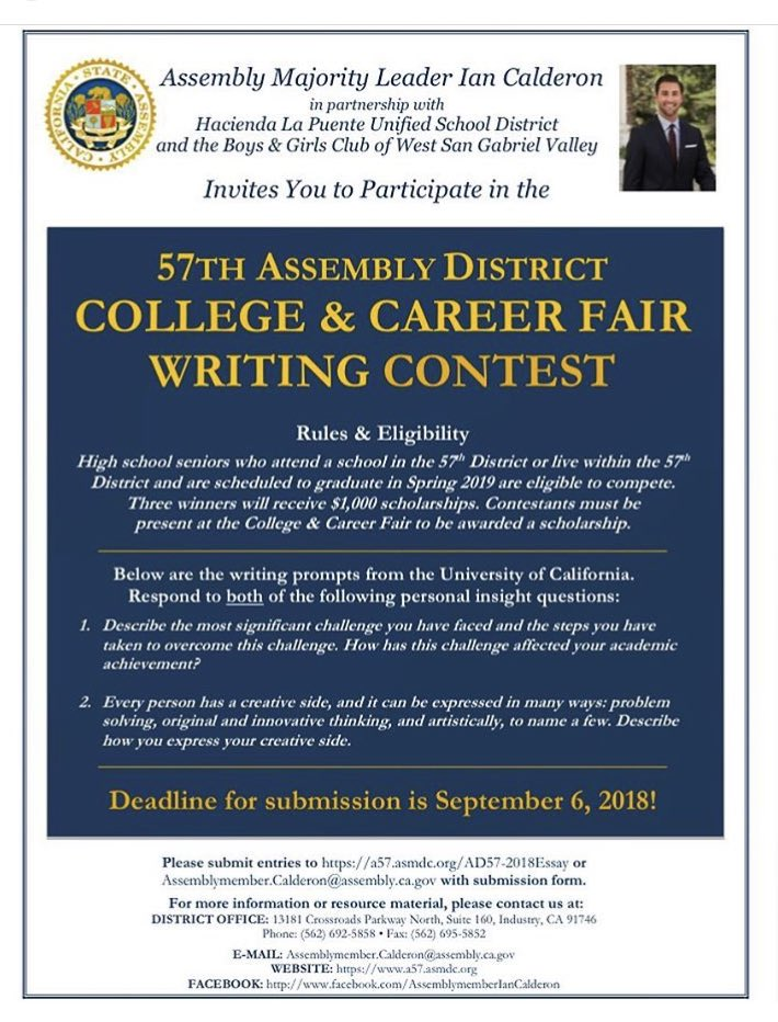 majorityleadercalderon on twitter high school seniors in ad if  winners will be announced at our adcollegecareerfair on sept  at los  altos hs submission deadline is sept th detailsmore info on our  website