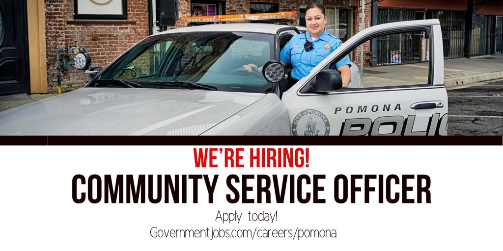 There's still time to join our team! The closing date for the position of Community Service Officer is this Thursday, 8/30 at 6pm. This is a full-time, non-sworn (civilian) position. #JoinPomonaPD  🔗 https://bit.ly/2PtRtEC