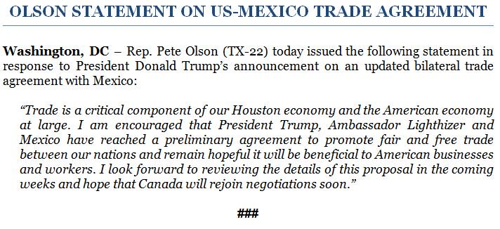 Rep Pete Olson On Twitter Trade Is A Critical Component Of Our